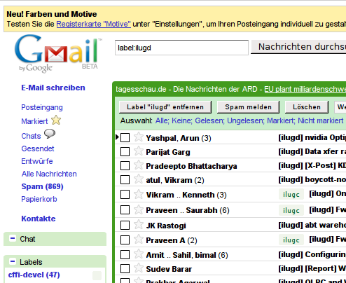 Gmail inbox with themes